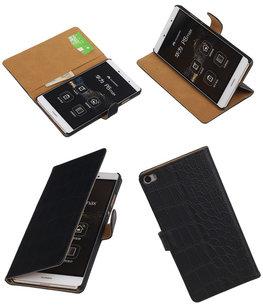 Hoesje voor Huawei P8 Max Croco Booktype Wallet Zwart