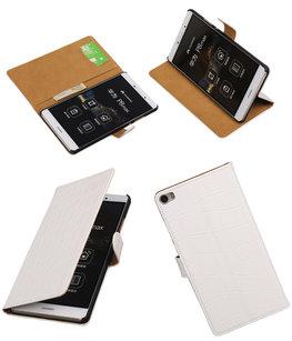 Hoesje voor Huawei P8 Max Croco Booktype Wallet Wit