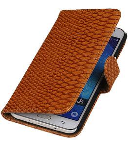 Hoesje voor Samsung Galaxy Core Prime Snake Slang Bookstyle Wallet Bruin