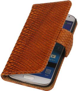Hoesje voor Sony Xperia Z2 Snake Slang Bookstyle Wallet Bruin