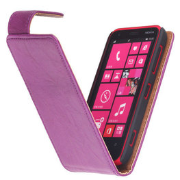 Polar Echt Lederen Hoesje voor Nokia Lumia 620 Flipcase Lila