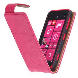 Polar Echt Lederen Hoesje voor Nokia Lumia 620 Flipcase Fuchsia