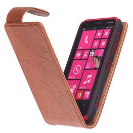Polar Echt Lederen Hoesje voor Nokia Lumia 620 Flipcase Bruin