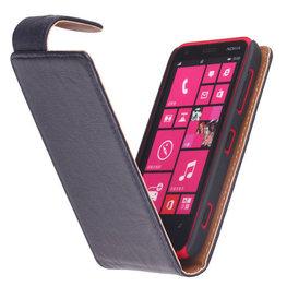 Polar Echt Lederen Hoesje voor Nokia Lumia 620 Flipcase Navy Blue