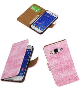 Hoesje voor Samsung Galaxy Core Prime Booktype Wallet Mini Slang Roze