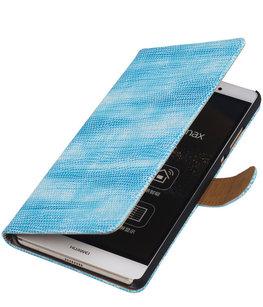 Hoesje voor Sony Xperia M4 Aqua Booktype Wallet Mini Slang Blauw