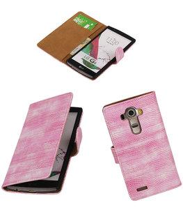 Hoesje voor LG G4 Booktype Wallet Mini Slang Roze