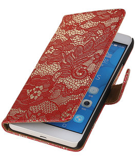 Hoesje voor LG G4c Lace Kant Bookstyle Wallet Rood
