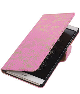 Hoesje voor Sony Xperia E4g Lace Kant Bookstyle Wallet Roze