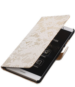 Hoesje voor Sony Xperia E4g Lace Kant Bookstyle Wallet Wit