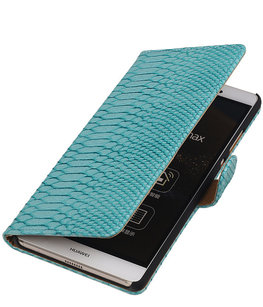Hoesje voor Sony Xperia E4g Snake Slang Bookstyle Wallet Turquoise