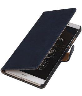 Hoesje voor Sony Xperia M4 Aqua Bark Hout Bookstyle Wallet Donker blauw