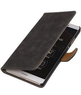 Hoesje voor Sony Xperia M4 Aqua Bark Hout Bookstyle Wallet Grijs