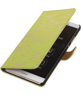 Hoesje voor Sony Xperia M4 Aqua Lace Kant Bookstyle Wallet Groen