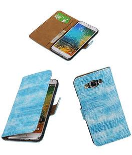 Hoesje voor Samsung Galaxy E5 Booktype Wallet Mini Slang Blauw