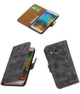Hoesje voor Samsung Galaxy E5 Booktype Wallet Mini Slang Grijs