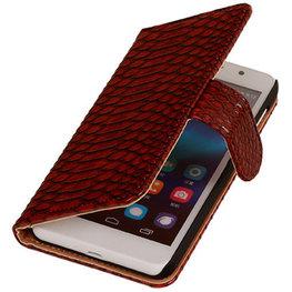 Hoesje voor Huawei Ascend G6 4G Booktype Wallet Slang Rood