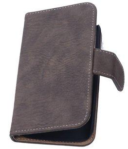 Hoesje voor Huawei Ascend G6 4G Booktype Wallet Hout Donker Bruin