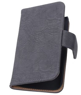 Hoesje voor Huawei Ascend G6 4G Booktype Wallet Hout Grijs