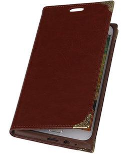 Hoesje voor Samsung Galaxy E7 - Bruin TPU Map Bookstyle