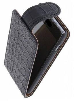 Hoesje voor Nokia Lumia 525 - Krokodil Zwart Classic Flipcase
