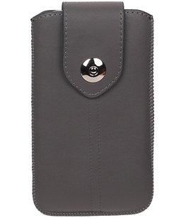 Samsung Galaxy J2 2015 - Luxe Leder look insteekhoes/pouch - Grijs M