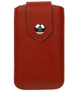 Samsung Galaxy J2 2015 - Luxe Leder look insteekhoes/pouch - Bruin M