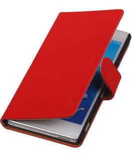 Hoesje voor Sony Xperia M4 Aqua Effen Booktype Wallet Rood