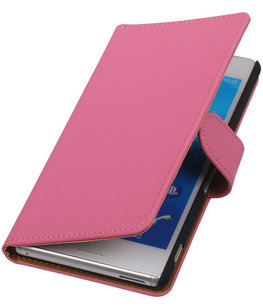 Hoesje voor Sony Xperia M4 Aqua Effen Booktype Wallet Roze