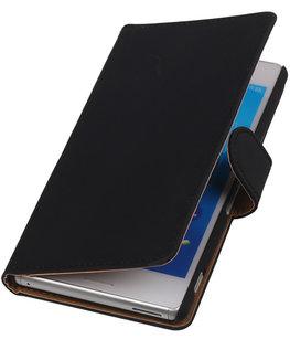 Hoesje voor Sony Xperia M4 Aqua Effen Booktype Wallet Zwart