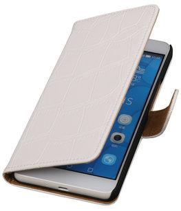 Hoesje voor Apple iPhone 5/5s - Croco Wit Bookstyle