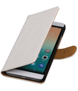 Hoesje voor Huawei Honor 7i - Croco Booktype Wallet Wit