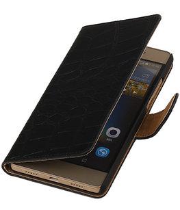 Hoesje voor Huawei G8 - Croco Booktype Wallet Zwart