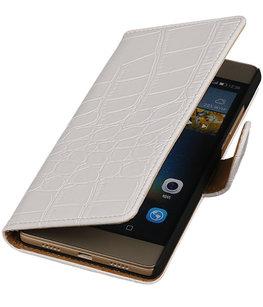 Hoesje voor Huawei G8 - Croco Booktype Wallet Wit