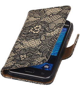 Hoesje voor Samsung Galaxy J2 2015 - Zwart Lace Booktype Wallet