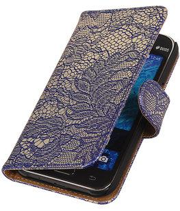Hoesje voor Samsung Galaxy J2 2015 - Blauw Lace Booktype Wallet
