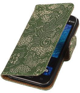 Hoesje voor Samsung Galaxy J2 2015 - Donker Groen Lace Booktype Wallet