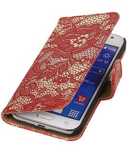 Hoesje voor Samsung Galaxy J2 2015 - Rood Lace Booktype Wallet