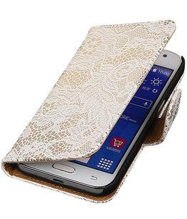 Hoesje voor Samsung Galaxy J2 2015 - Wit Lace Booktype Wallet