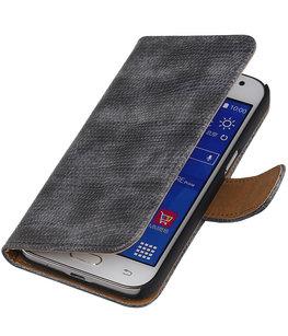 Hoesje voor Samsung Galaxy J2 2015 - Grijs Booktype Wallet Mini Slang
