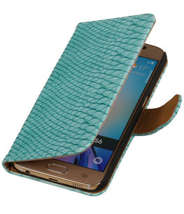 Hoesje voor Samsung Galaxy J2 2015 - Slang Turquoise Bookstyle Wallet