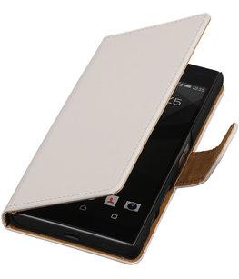 Hoesje voor Sony Xperia Z5 Compact - Effen Wit Booktype Wallet