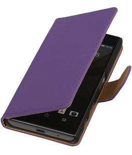Hoesje voor Sony Xperia Z5 Compact - Effen Paars Booktype Wallet