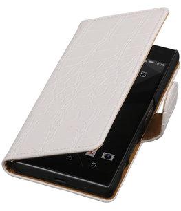 Hoesje voor Sony Xperia Z5 Compact - Croco Wit Booktype Wallet