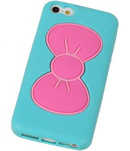 Vlinder Telefoonstandaard Case TPU iPhone 5/5S Turquoise
