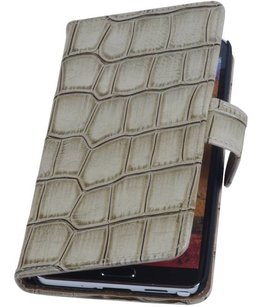 Hoesje voor Samsung Galaxy Note 3 Neo - Croco Beige Booktype Wallet