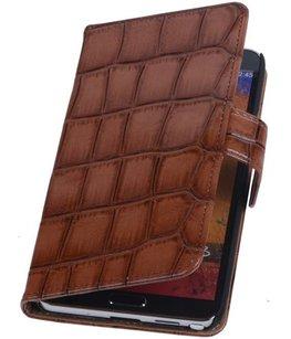 Hoesje voor Samsung Galaxy Note 3 Neo - Croco Bruin Booktype Wallet