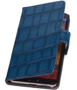 Hoesje voor Samsung Galaxy Note 3 Neo - Croco Blauw Booktype Wallet