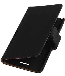 Hoesje voor HTC One SV - Effen Zwart Booktype Wallet