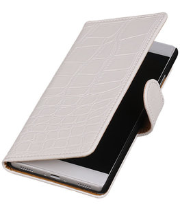 Hoesje voor Huawei Ascend G6 4G - Krokodil Wit Booktype Wallet